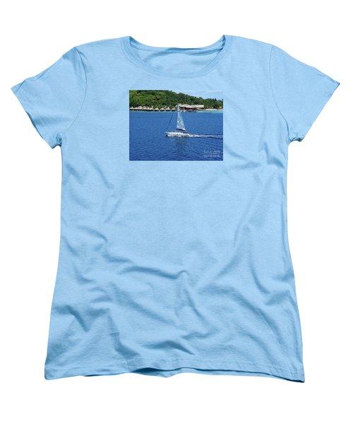 Women's T-Shirt (Standard Cut) featuring the photograph South Sea Sail by Phyllis Kaltenbach
