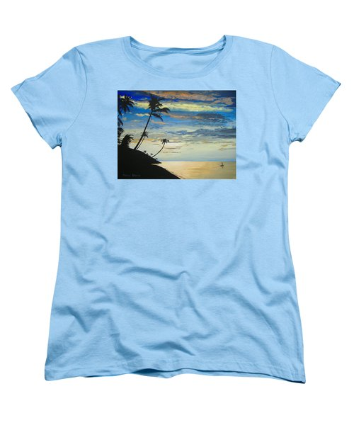 Women's T-Shirt (Standard Cut) featuring the painting South Sea Sunset by Norm Starks