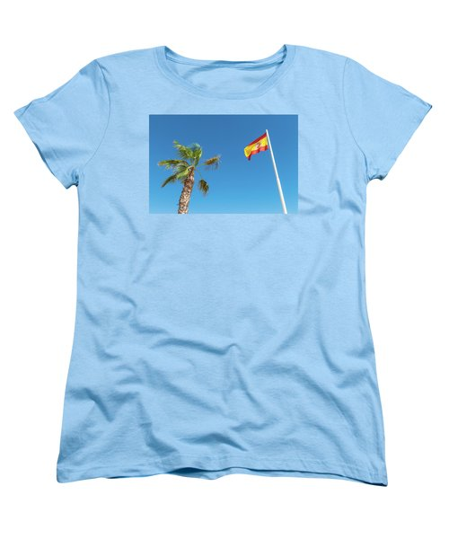 Spanish Flag And Palm Tree In The Blue Sky Women's T-Shirt (Standard Cut) by GoodMood Art