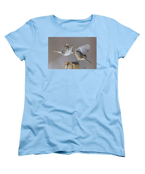 Women's T-Shirt (Standard Cut) featuring the photograph Sparrows Fight by Mircea Costina Photography
