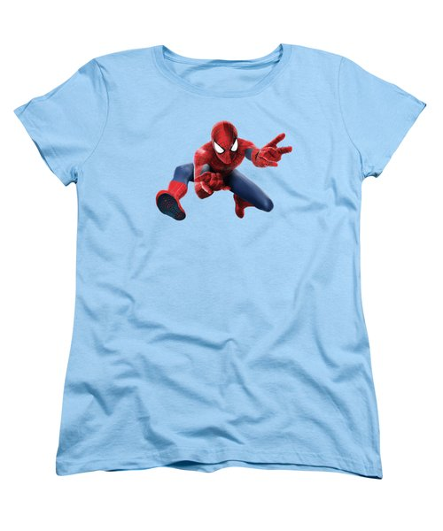 Spider Man Splash Super Hero Series Women's T-Shirt (Standard Cut) by Movie Poster Prints