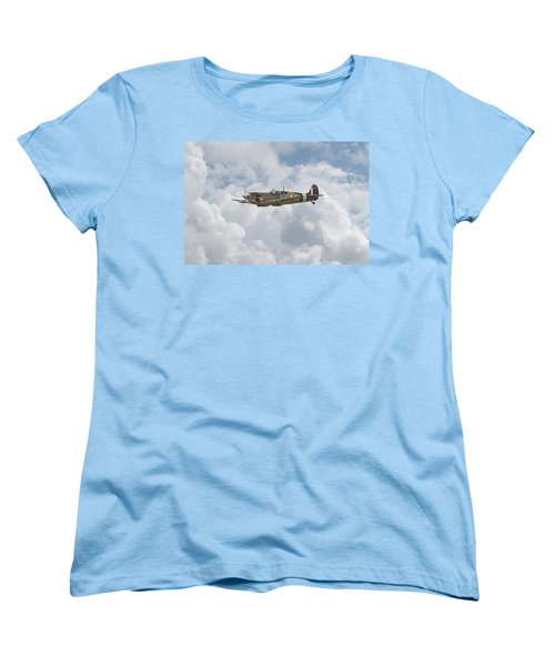 Women's T-Shirt (Standard Cut) featuring the digital art   Spifire - Us Eagle Squadron by Pat Speirs