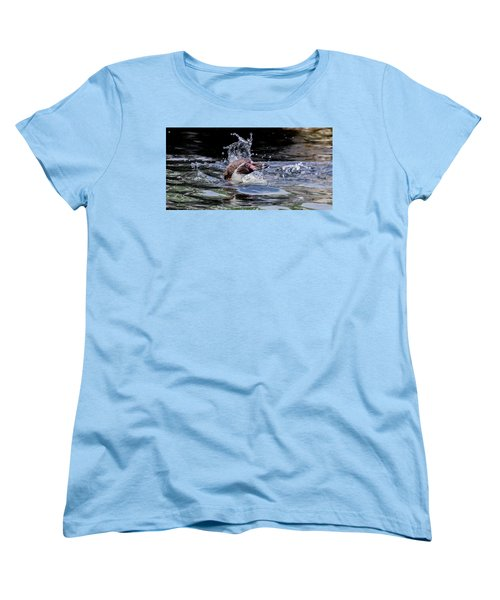 Splashing Humboldt Penguin Women's T-Shirt (Standard Cut) by Scott Lyons