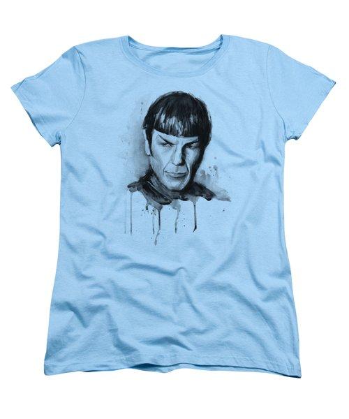 Spock Portrait Watercolor Star Trek Fan Art Women's T-Shirt (Standard Cut) by Olga Shvartsur
