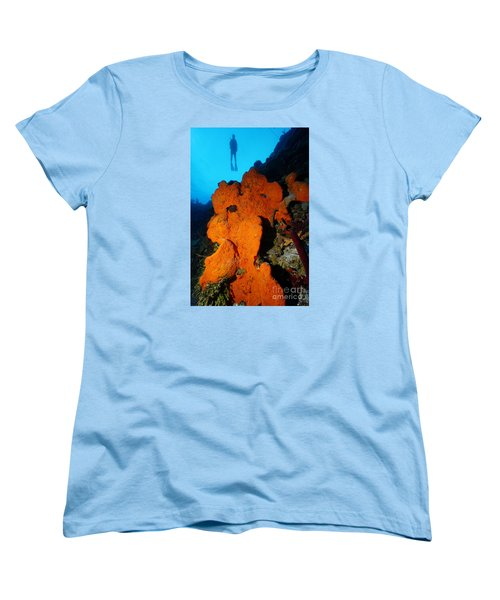 Women's T-Shirt (Standard Cut) featuring the photograph Sponge Diver by Aaron Whittemore