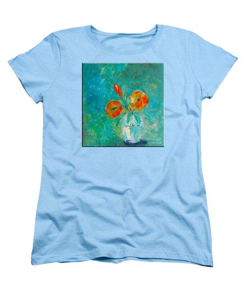 Palette Knife Floral Women's T-Shirt (Standard Cut) by Lisa Kaiser