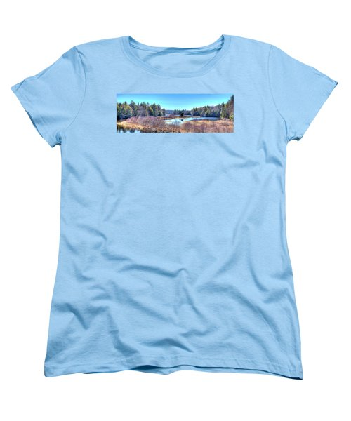 Women's T-Shirt (Standard Cut) featuring the photograph Spring Scene At The Tobie Trail Bridge by David Patterson