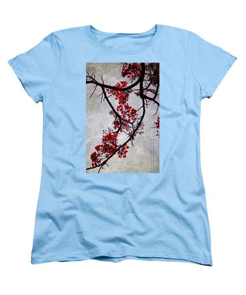 Spring Bloosom In Maldives. Flamboyant Tree II. Japanese Style Women's T-Shirt (Standard Cut) by Jenny Rainbow