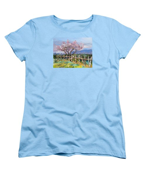Spring Blossom Pallet Knife Painting Women's T-Shirt (Standard Cut) by Lisa Boyd