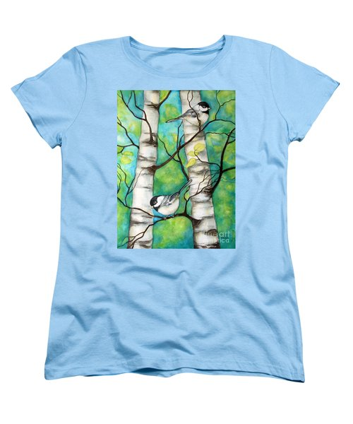 Women's T-Shirt (Standard Cut) featuring the painting Spring Chickadees by Inese Poga