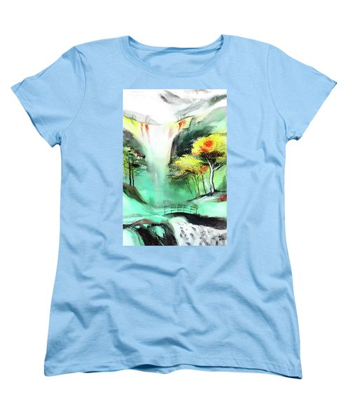 Women's T-Shirt (Standard Cut) featuring the painting Spring Fall by Anil Nene