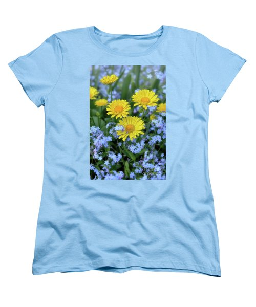 Spring Flowers Forget Me Nots And Leopard's Bane Women's T-Shirt (Standard Cut) by Henry Kowalski