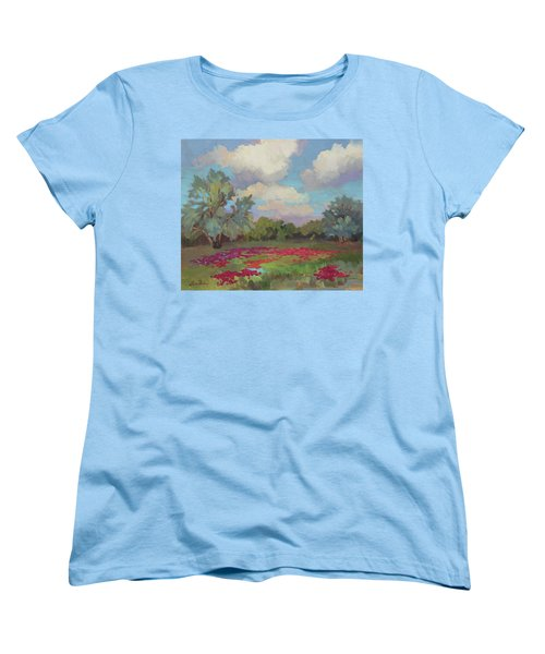 Women's T-Shirt (Standard Cut) featuring the painting Spring Poppies by Diane McClary