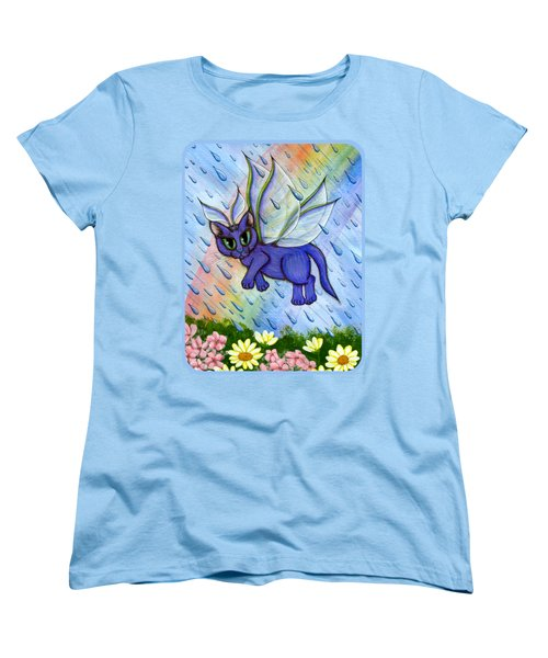 Spring Showers Fairy Cat Women's T-Shirt (Standard Cut) by Carrie Hawks