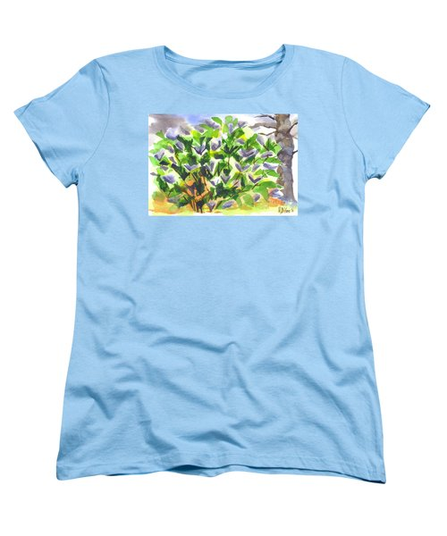 Women's T-Shirt (Standard Cut) featuring the painting Springtime Lilac Abstraction by Kip DeVore