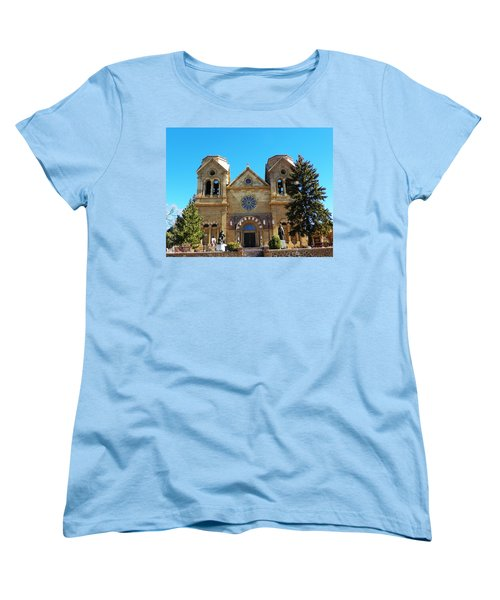 Women's T-Shirt (Standard Cut) featuring the photograph St. Francis Cathedral Santa Fe Nm by Joseph Frank Baraba