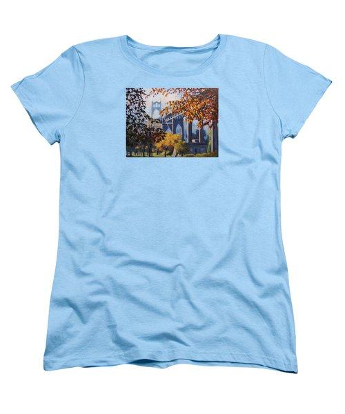 Women's T-Shirt (Standard Cut) featuring the painting St Johns Autumn by Karen Ilari