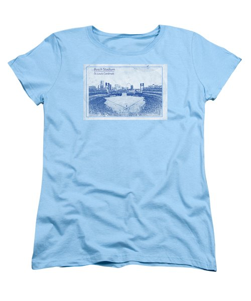 St. Louis Cardinals Busch Stadium Blueprint Words Women's T-Shirt (Standard Cut) by David Haskett