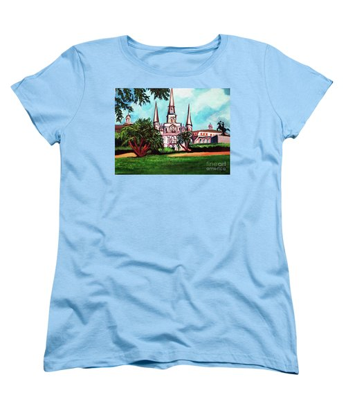 St. Louis Cathedral New Orleans Art Women's T-Shirt (Standard Cut) by Ecinja Art Works