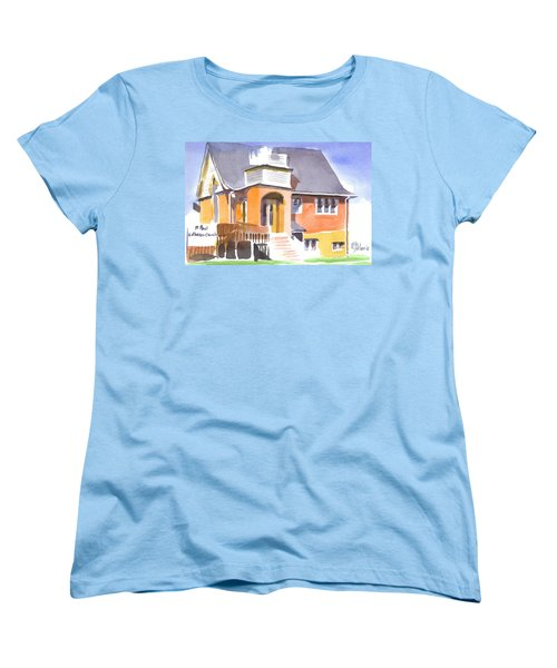 Women's T-Shirt (Standard Cut) featuring the painting St Paul Lutheran In Watercolor 2 by Kip DeVore