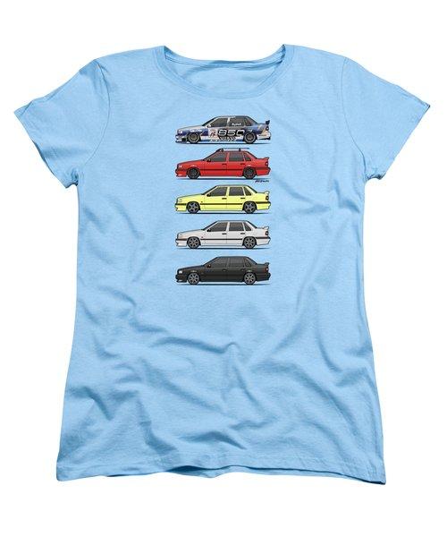 Stack Of Volvo 850r 854r T5 Turbo Saloon Sedans Women's T-Shirt (Standard Cut) by Monkey Crisis On Mars
