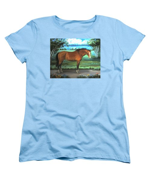 Women's T-Shirt (Standard Cut) featuring the painting Stallion Portrait by Dawn Senior-Trask