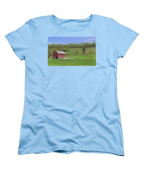 Women's T-Shirt (Standard Cut) featuring the digital art Star And Moon Barn by Sharon Batdorf