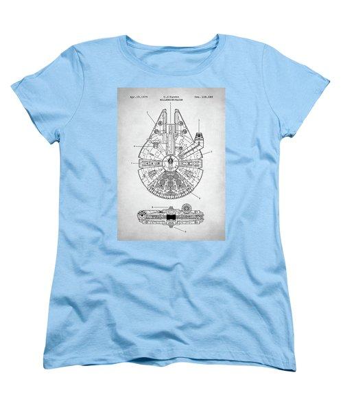 Star Wars Millennium Falcon Patent Women's T-Shirt (Standard Cut) by Taylan Apukovska
