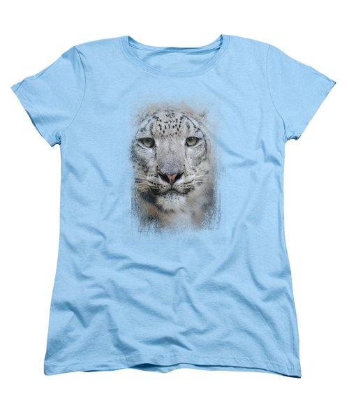Stare Of The Snow Leopard Women's T-Shirt (Standard Cut) by Jai Johnson