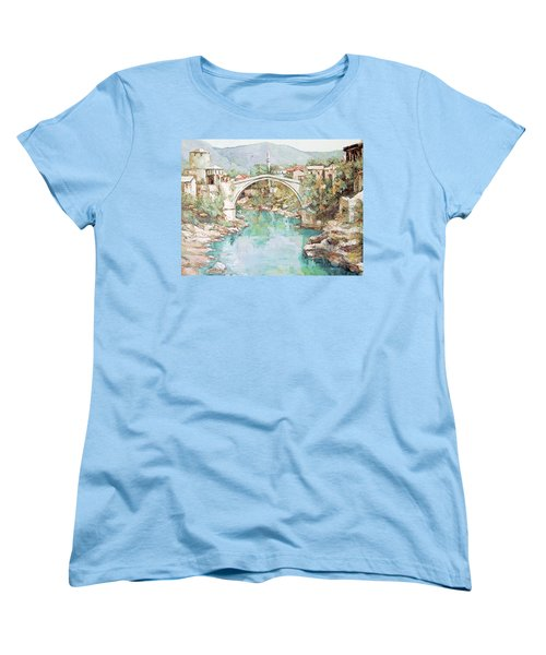 Women's T-Shirt (Standard Cut) featuring the photograph Stari Most Bridge Over The Neretva River In Mostar Bosnia Herzegovina by Joseph Hendrix