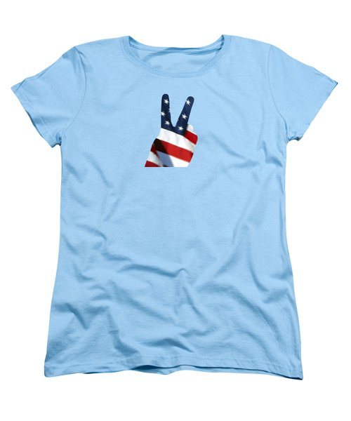 Women's T-Shirt (Standard Cut) featuring the photograph Stars And Stripes Peace Sign .png by Al Powell Photography USA