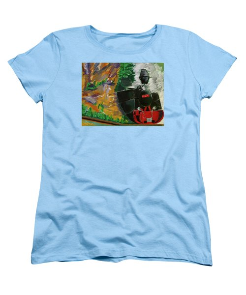 Women's T-Shirt (Standard Cut) featuring the pastel Steam Train by Manuela Constantin