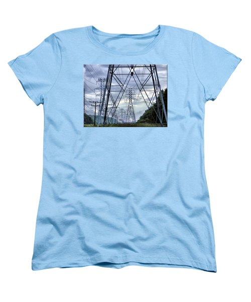 Women's T-Shirt (Standard Cut) featuring the photograph Steel Soldiers Marching To The Sea by Brian Wallace
