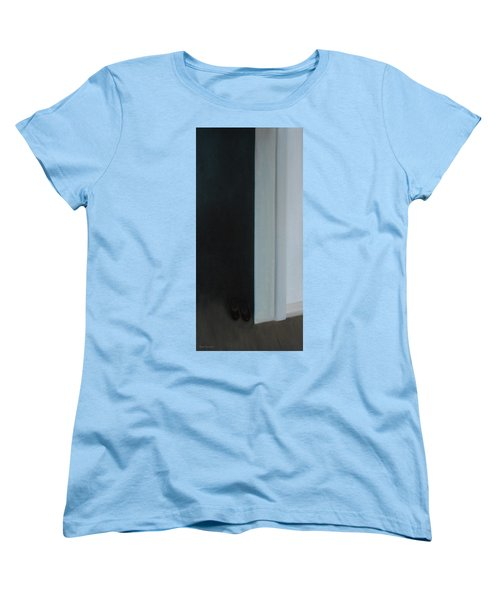 Women's T-Shirt (Standard Cut) featuring the painting Stepping Into The Light? by Tone Aanderaa