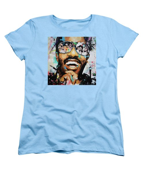 Stevie Wonder Portrait Women's T-Shirt (Standard Cut) by Richard Day
