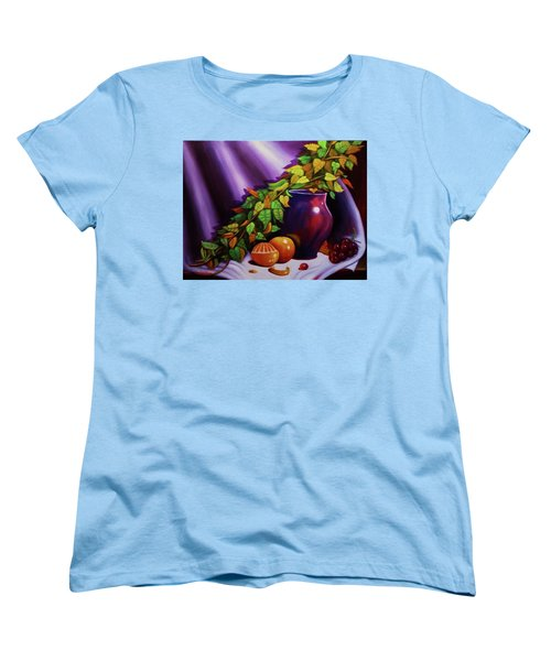 Women's T-Shirt (Standard Cut) featuring the painting Still Life W/purple Vase by Gene Gregory