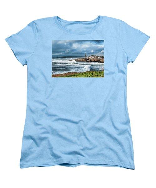 Storm Wave At Sunset Cliffs Women's T-Shirt (Standard Cut) by Daniel Hebard