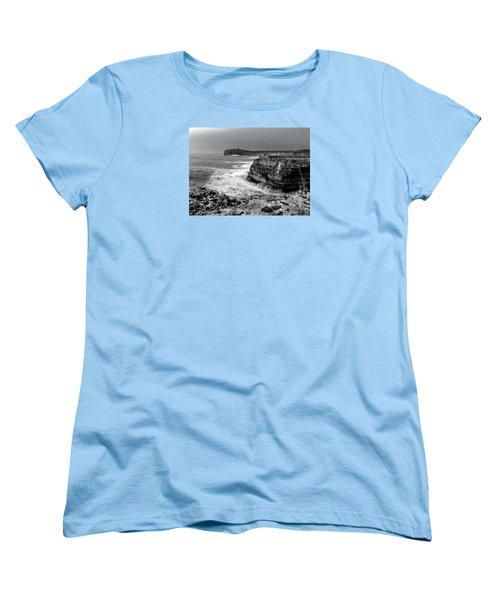 Women's T-Shirt (Standard Cut) featuring the photograph stormy sea - Slow waves in a rocky coast black and white photo by pedro cardona by Pedro Cardona