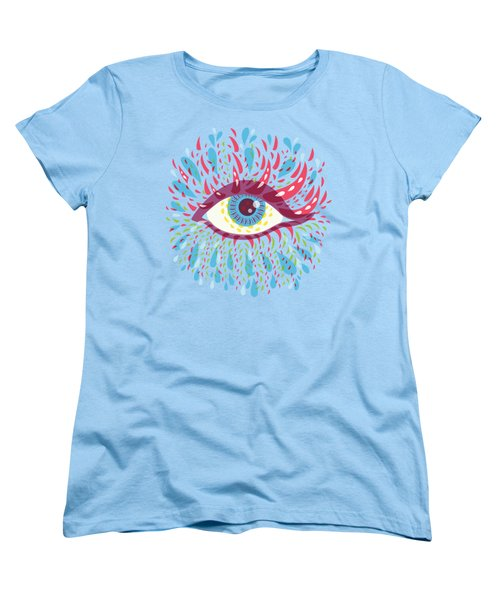 Strange Blue Psychedelic Eye Women's T-Shirt (Standard Cut) by Boriana Giormova