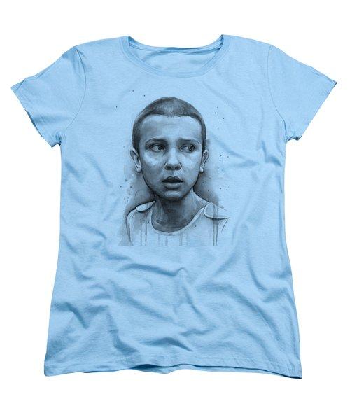 Stranger Things Eleven Upside Down Art Portrait Women's T-Shirt (Standard Fit)