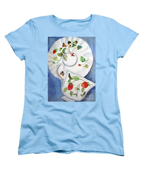 Strawberry Cup And Saucer Women's T-Shirt (Standard Cut) by Sandy McIntire