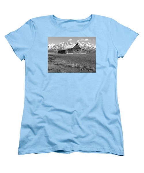 Streaming By The Moulton Barn Black And White Women's T-Shirt (Standard Cut) by Adam Jewell