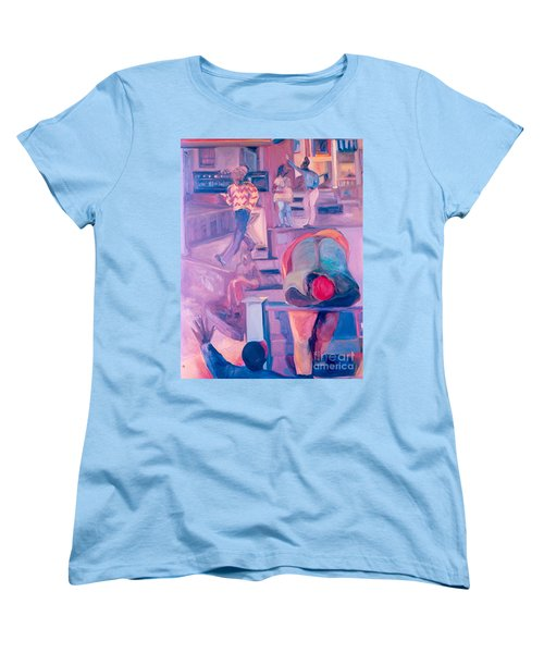 Women's T-Shirt (Standard Cut) featuring the painting Street Scenes by Daun Soden-Greene