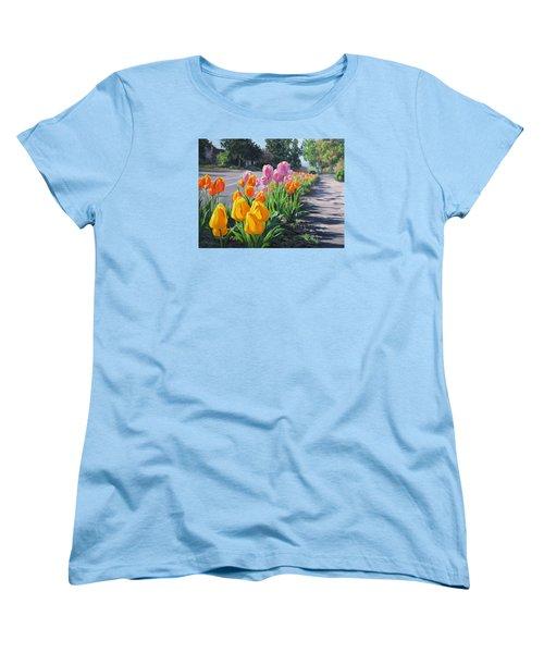 Women's T-Shirt (Standard Cut) featuring the painting Street Tulips by Karen Ilari