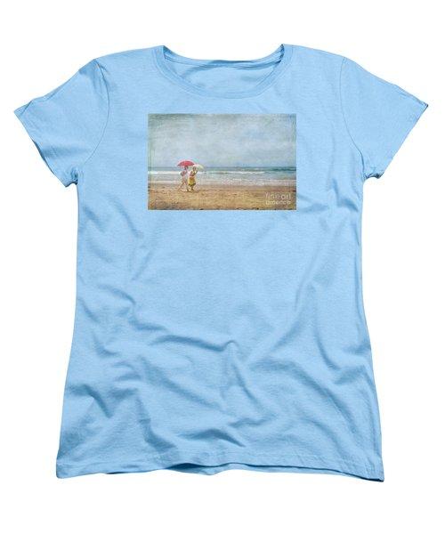 Women's T-Shirt (Standard Cut) featuring the photograph Strolling On The Beach by David Zanzinger