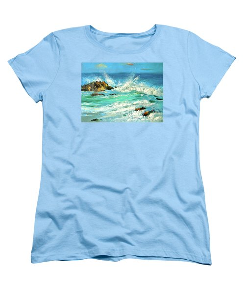 Women's T-Shirt (Standard Cut) featuring the painting Study Wave by Dmitry Spiros