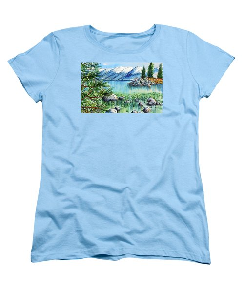 Women's T-Shirt (Standard Cut) featuring the painting Summer At Lake Tahoe by Terry Banderas