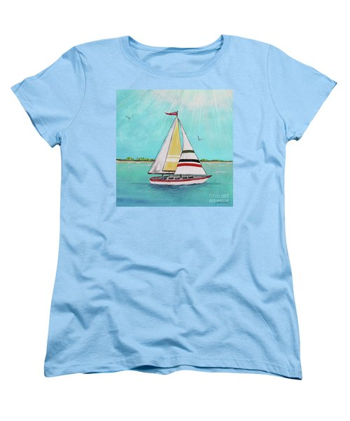 Women's T-Shirt (Standard Cut) featuring the painting Summer Breeze-d by Jean Plout