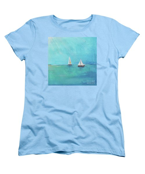 Women's T-Shirt (Standard Cut) featuring the painting Summer Breeze-e by Jean Plout