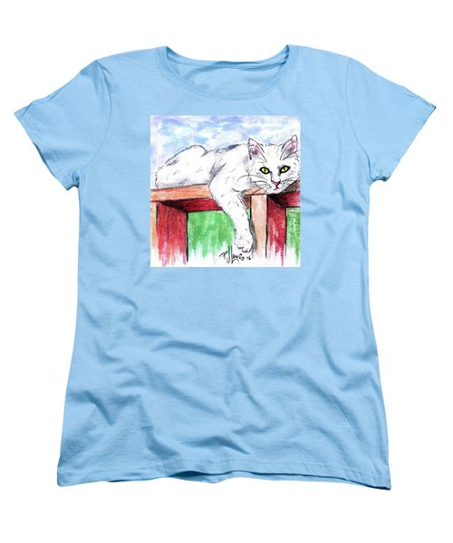 Women's T-Shirt (Standard Cut) featuring the painting Summer Cat by P J Lewis